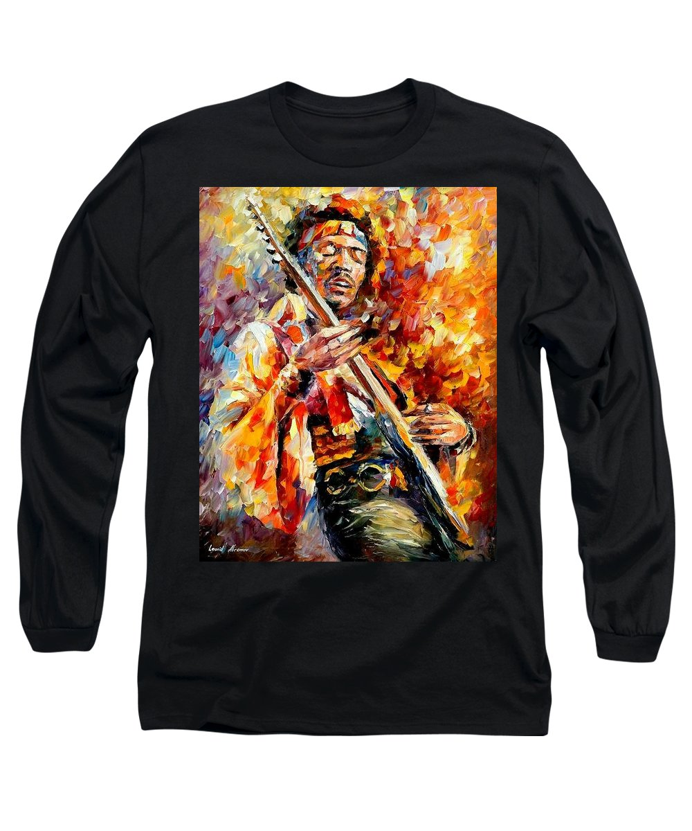 Music Long Sleeve T-Shirt featuring the painting Jimi Hendrix by Leonid Afremov