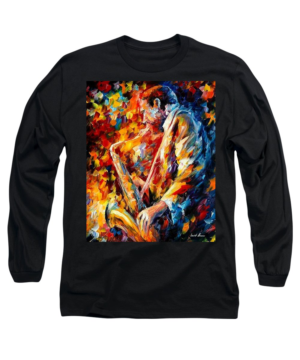 Music Long Sleeve T-Shirt featuring the painting John Coltrane by Leonid Afremov