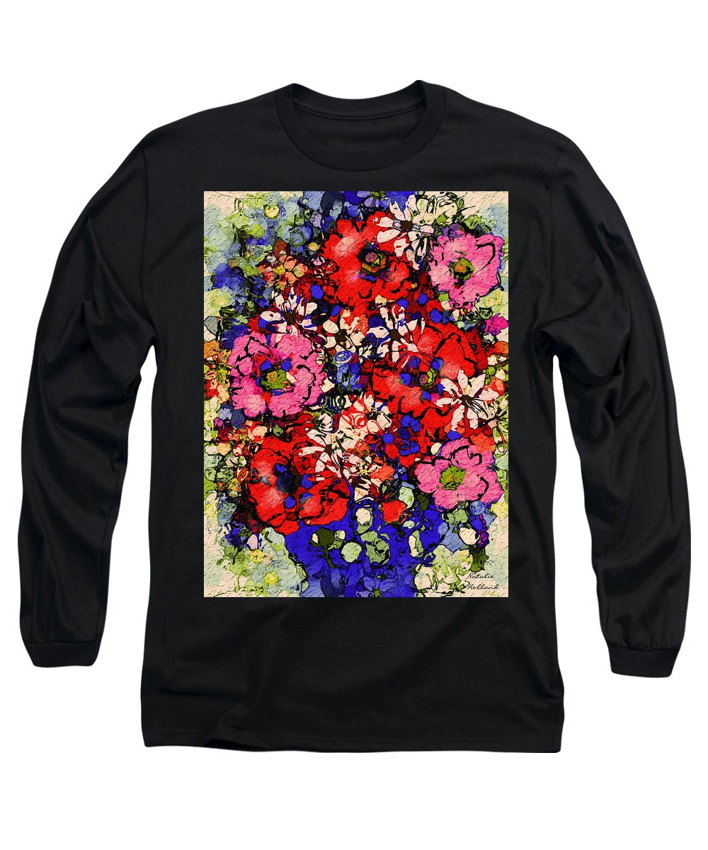 Floral Abstract Long Sleeve T-Shirt featuring the painting Joyful Flowers by Natalie Holland