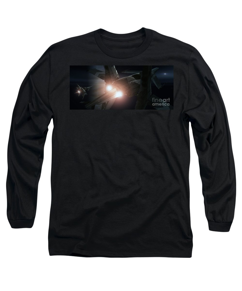 Space Long Sleeve T-Shirt featuring the digital art Jupiter Patrol by Richard Rizzo