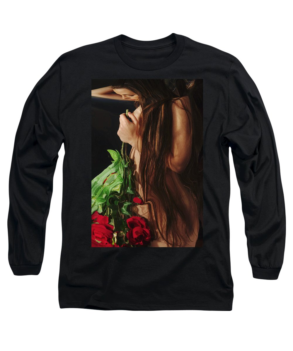 Female Nude Abstract Mirrors Flowers Long Sleeve T-Shirt featuring the photograph Kazi1179 by Henry Butz