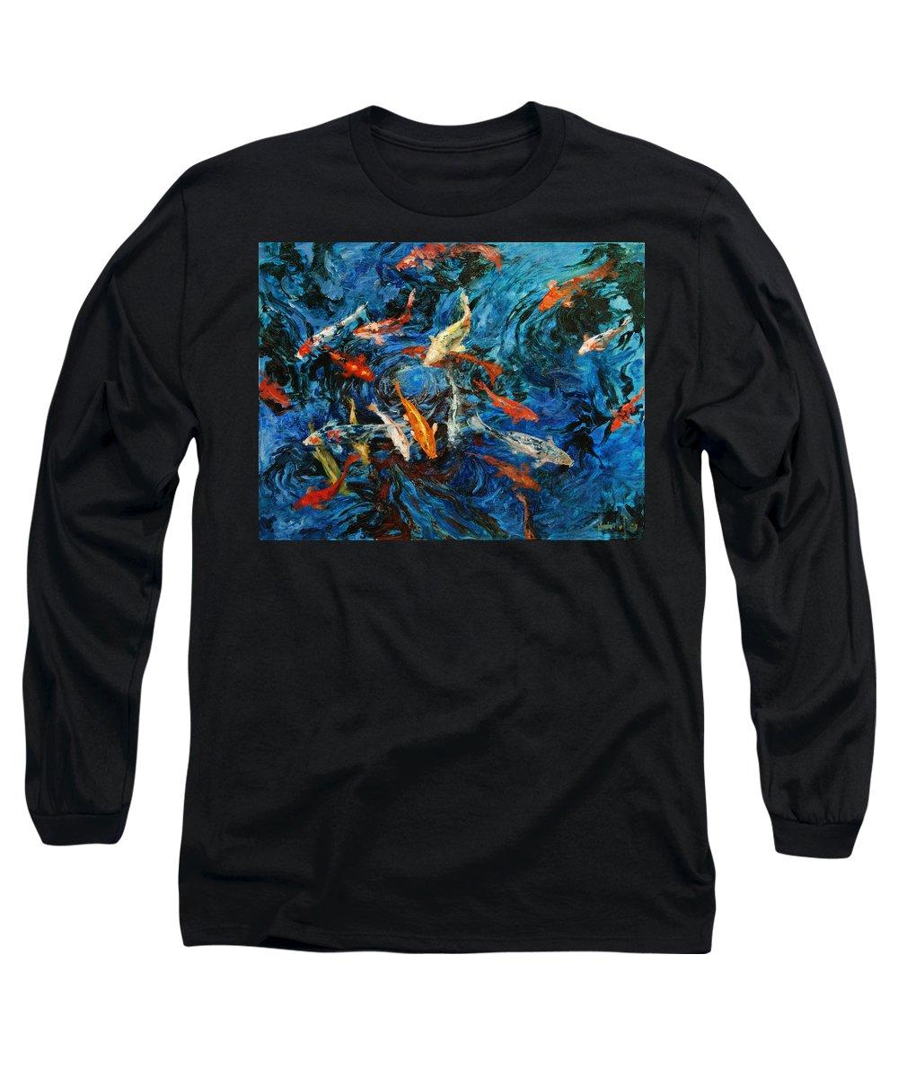 Koi Long Sleeve T-Shirt featuring the painting Koi IIi by Rick Nederlof