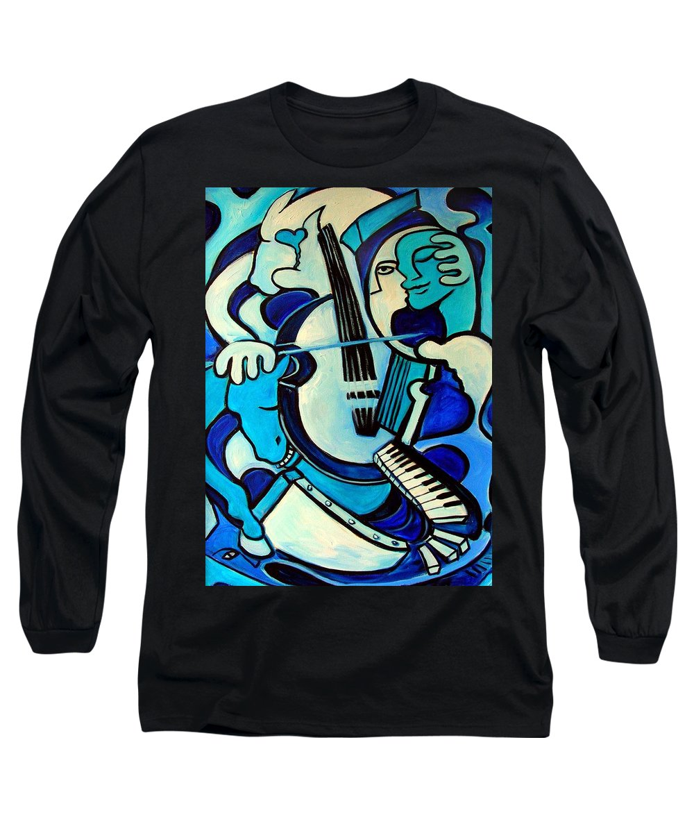 Abstract Long Sleeve T-Shirt featuring the painting L Amour Ou Quoi by Valerie Vescovi