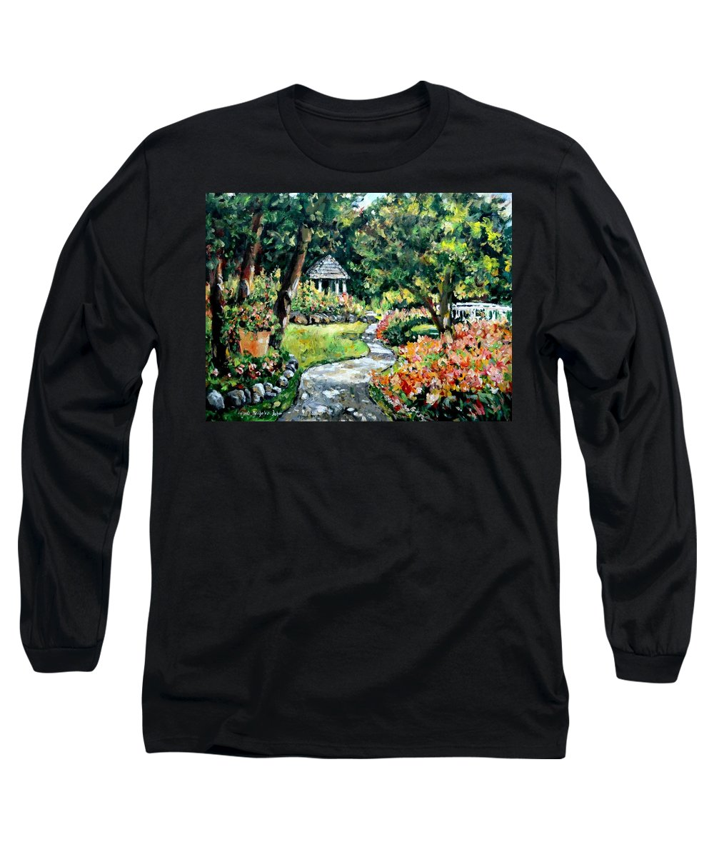 Landscape Long Sleeve T-Shirt featuring the painting La Paloma Gardens by Alexandra Maria Ethlyn Cheshire