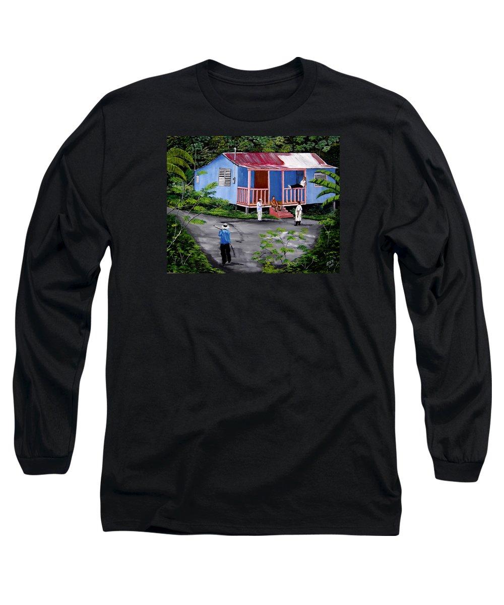 Campo Long Sleeve T-Shirt featuring the painting La Vida En Las Montanas De Moca by Luis F Rodriguez