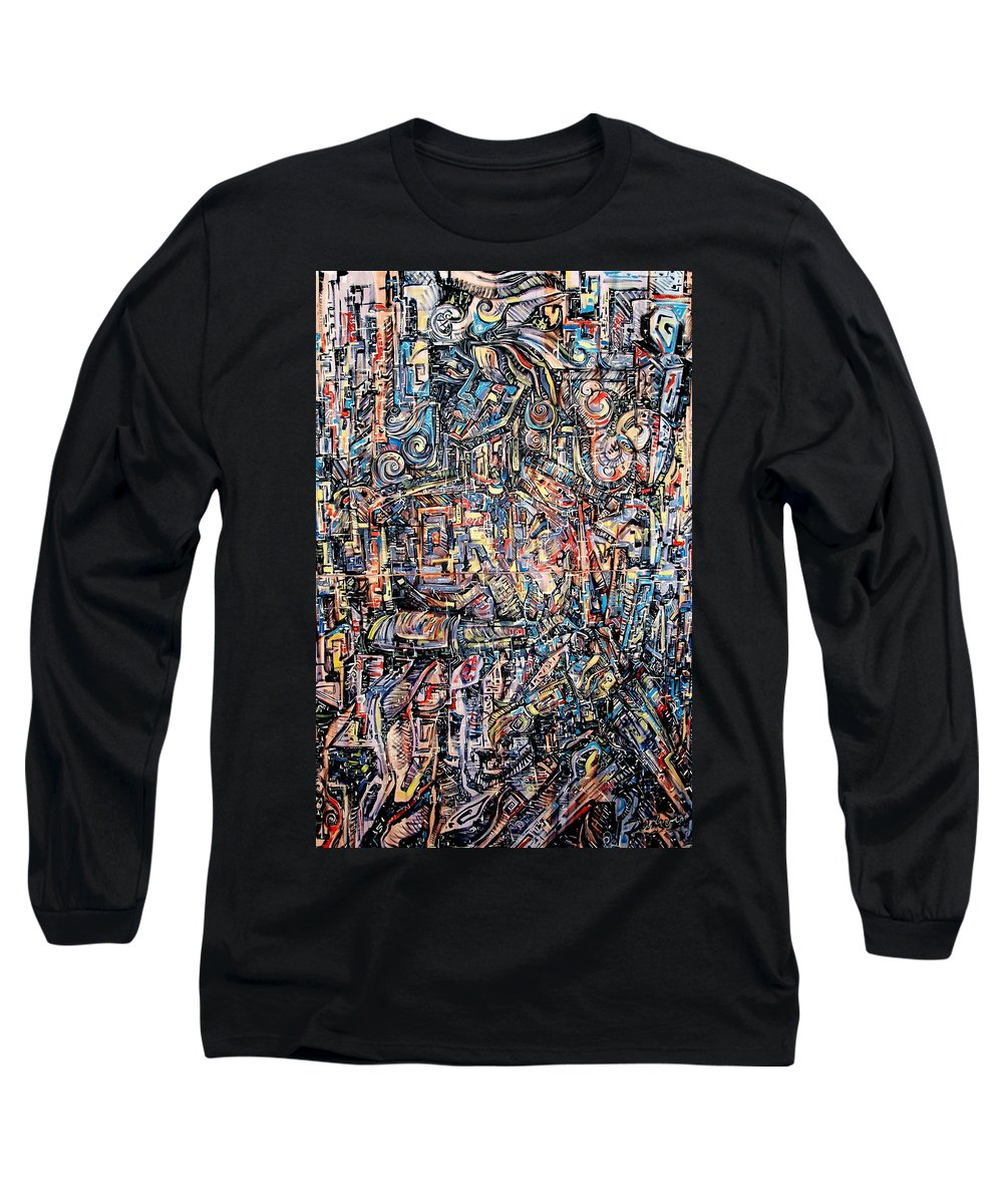Surrealism Long Sleeve T-Shirt featuring the painting Labyrinth Of Sorrows by Darwin Leon