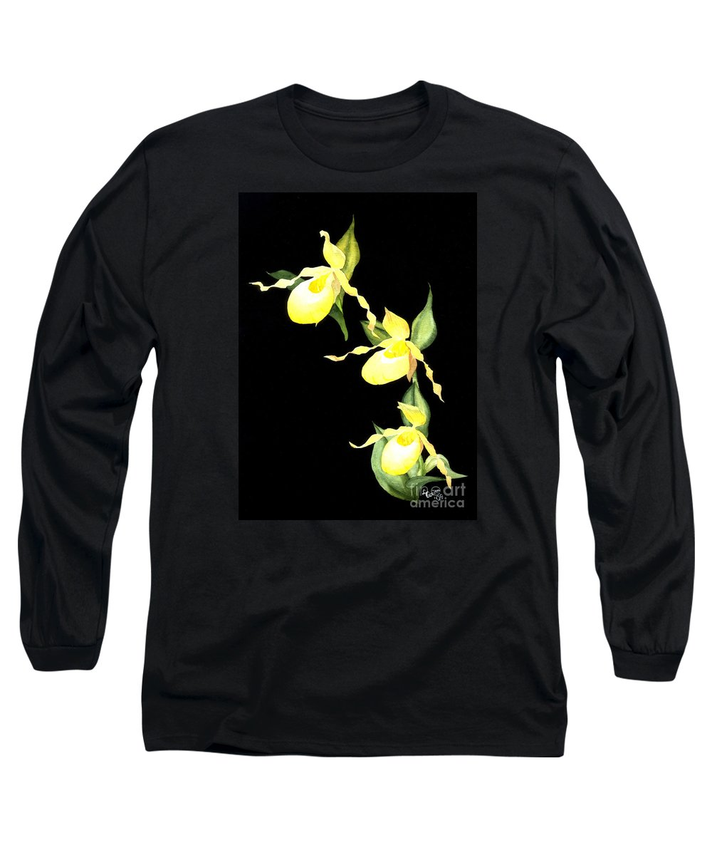 Yellow Lady S Slipper Long Sleeve T-Shirt featuring the painting Ladies Trio by Lynn Quinn