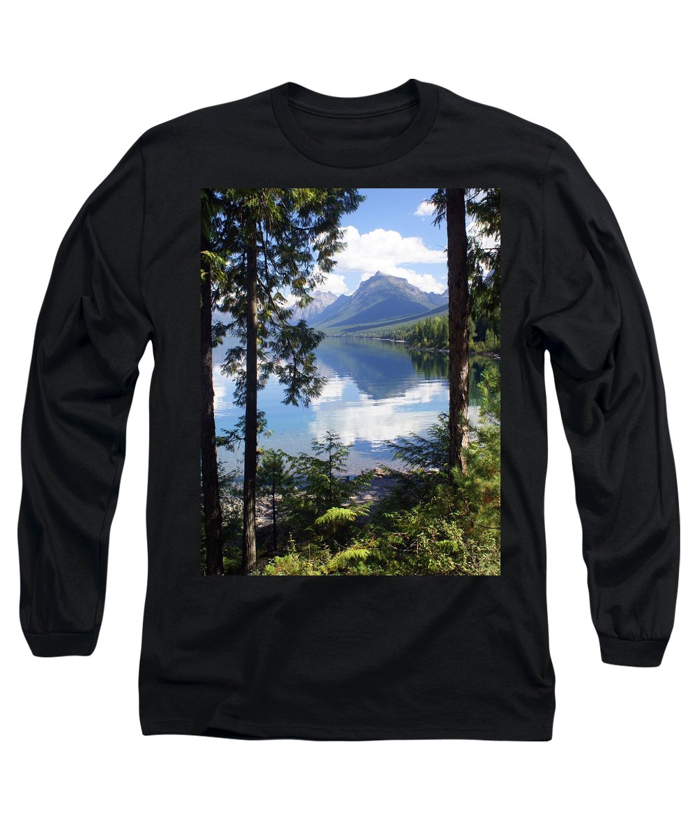 Glacier National Park Long Sleeve T-Shirt featuring the photograph Lake Mcdlonald Through The Trees Glacier National Park by Marty Koch
