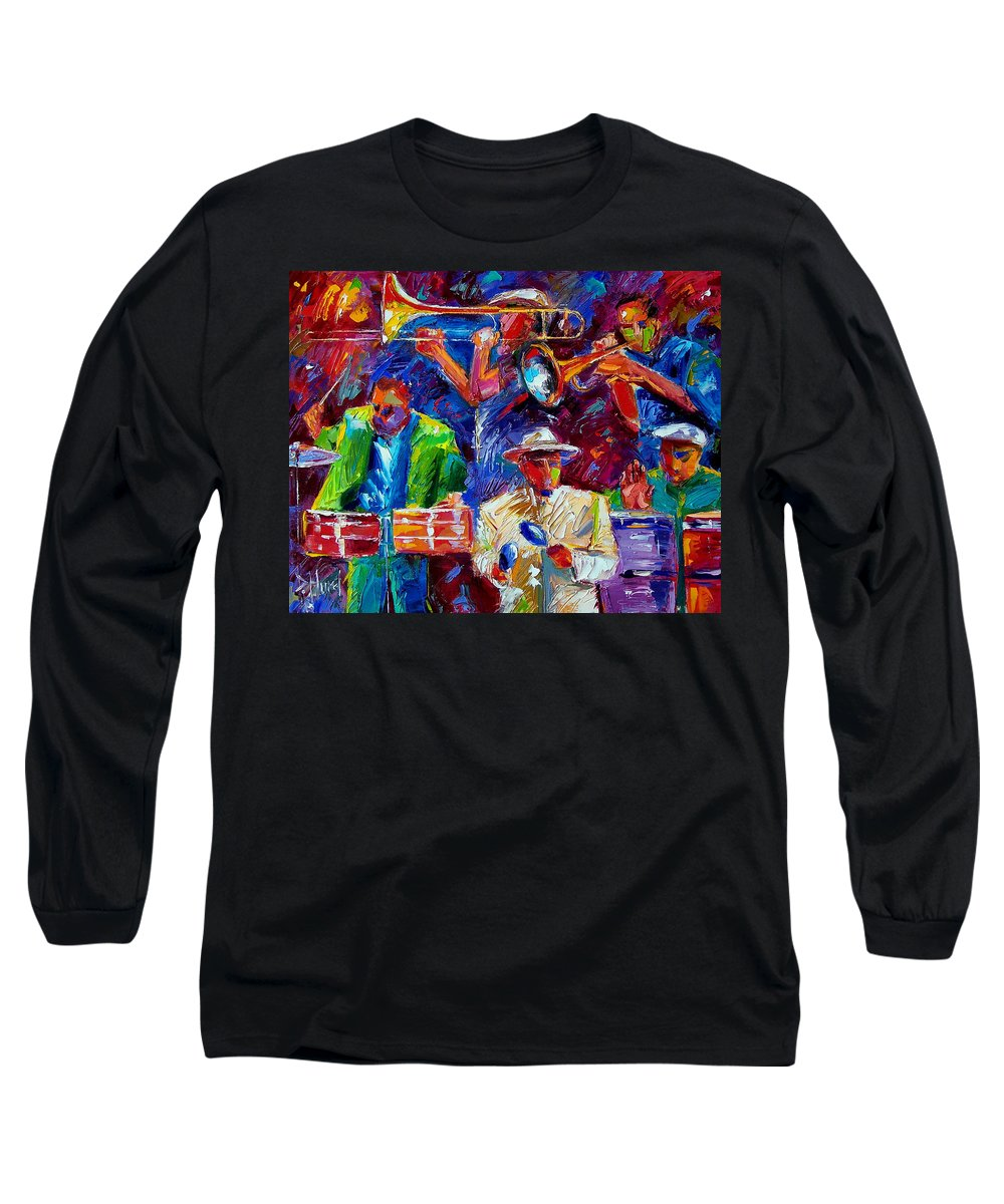 Jazz Long Sleeve T-Shirt featuring the painting Latin Jazz by Debra Hurd