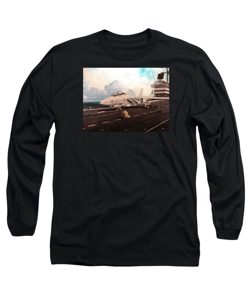 Military Long Sleeve T-Shirt featuring the painting Launch The Alert 5 by Marc Stewart