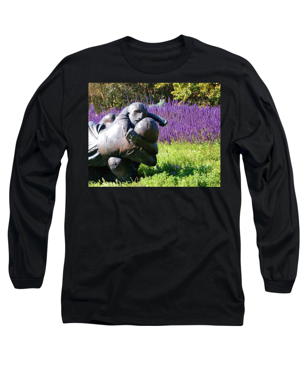 Statue Long Sleeve T-Shirt featuring the photograph Lavender Lovers by Debbi Granruth