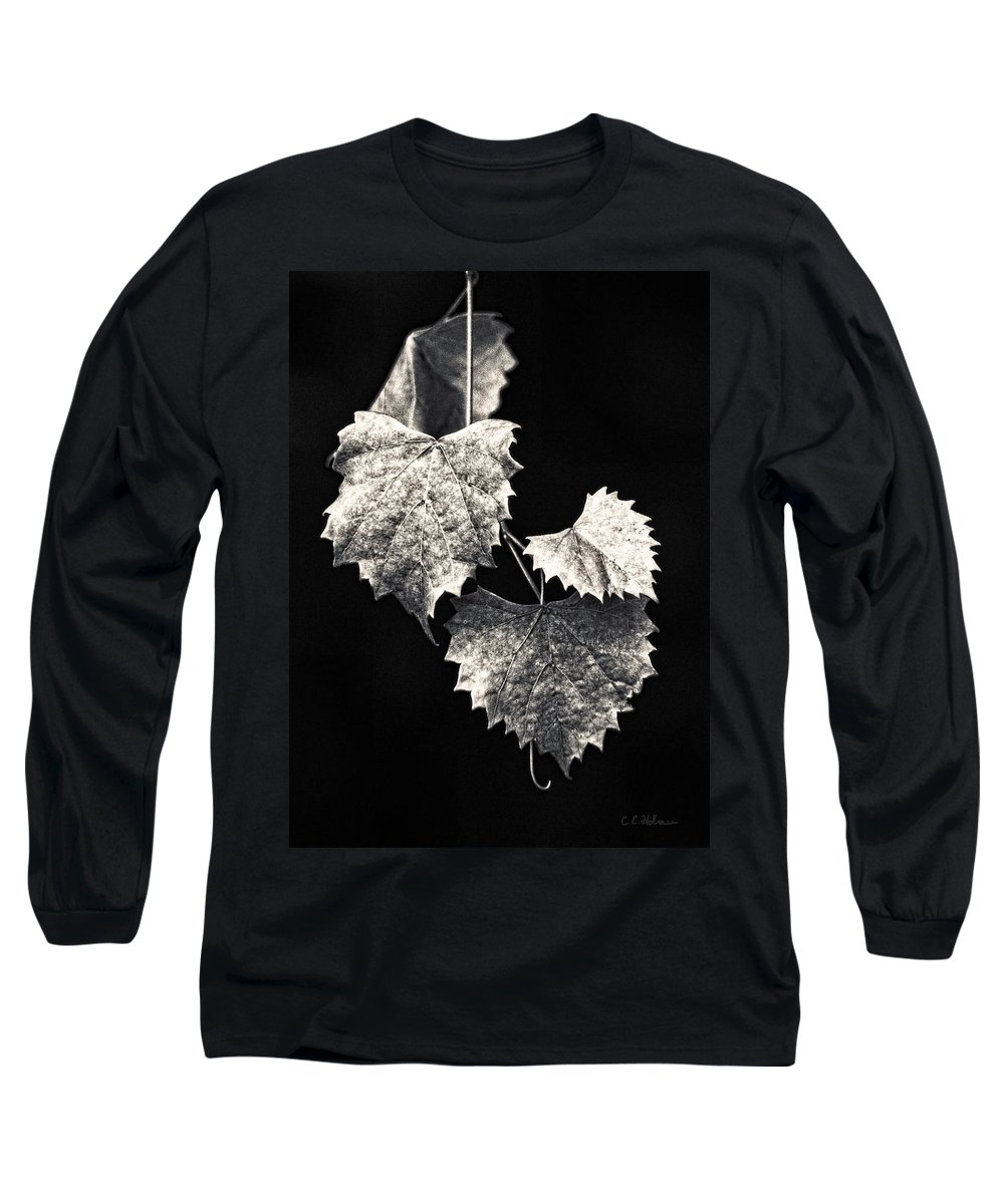 B&w Long Sleeve T-Shirt featuring the photograph Leaves by Christopher Holmes