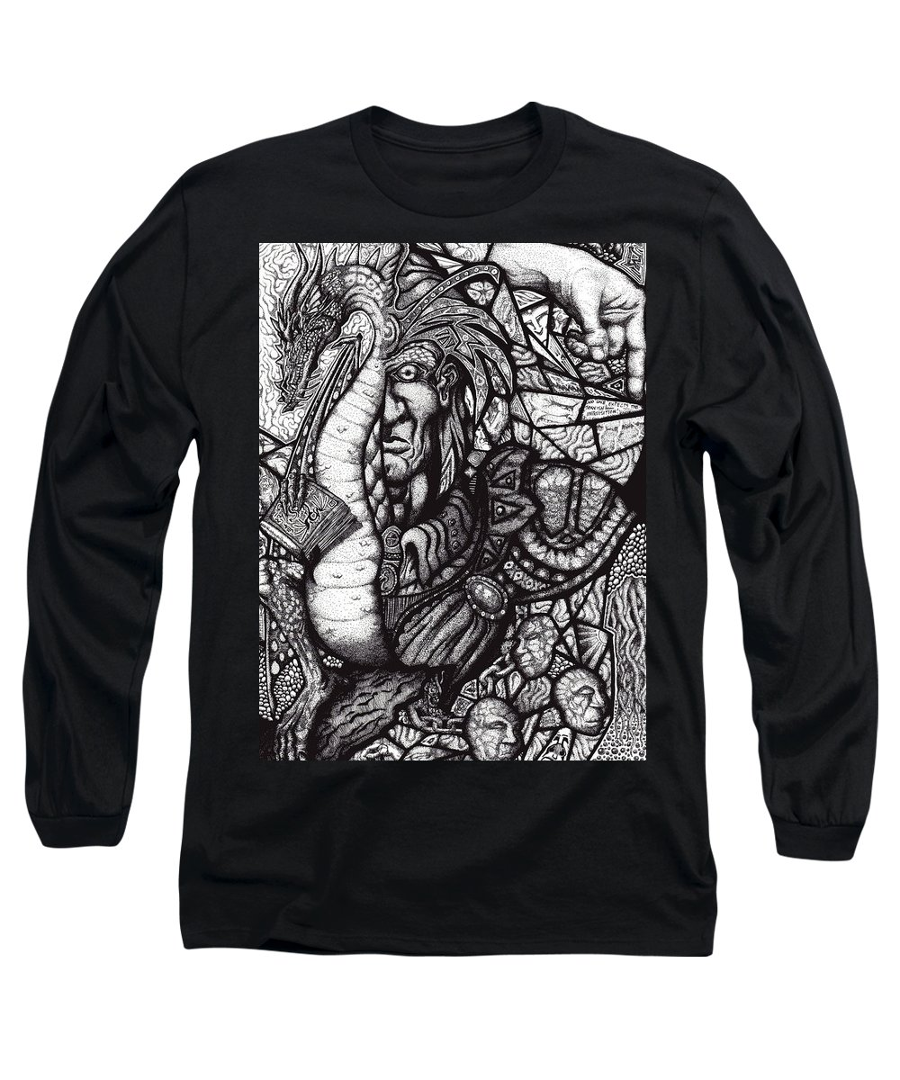 Pen And Ink Long Sleeve T-Shirt featuring the drawing Legend by Tobey Anderson