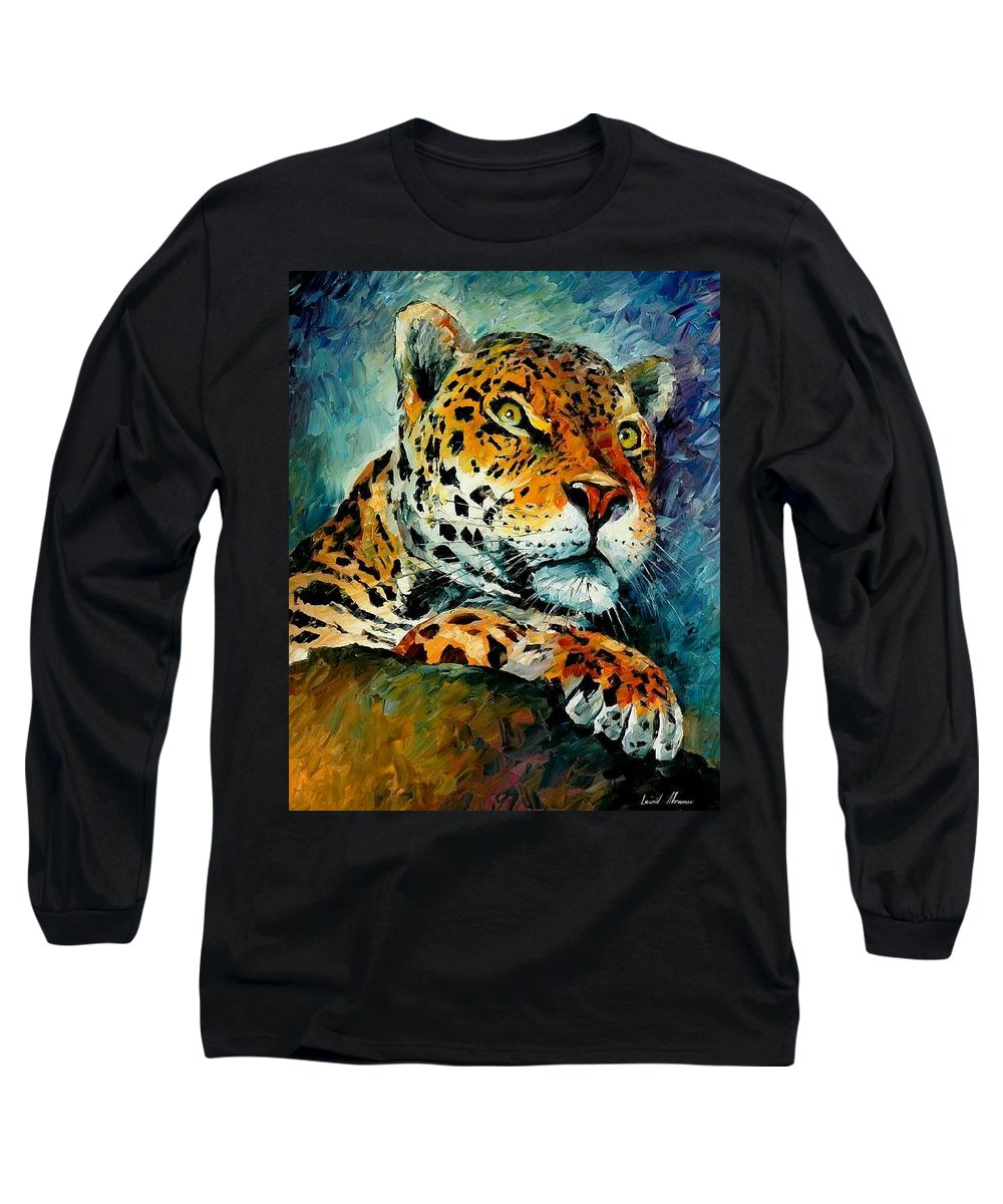 Animals Long Sleeve T-Shirt featuring the painting Leopard by Leonid Afremov