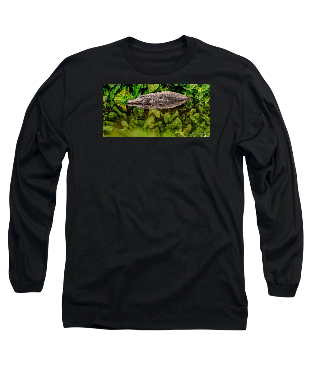 Alligator Long Sleeve T-Shirt featuring the photograph Let Sleeping Gators Lie by Christopher Holmes