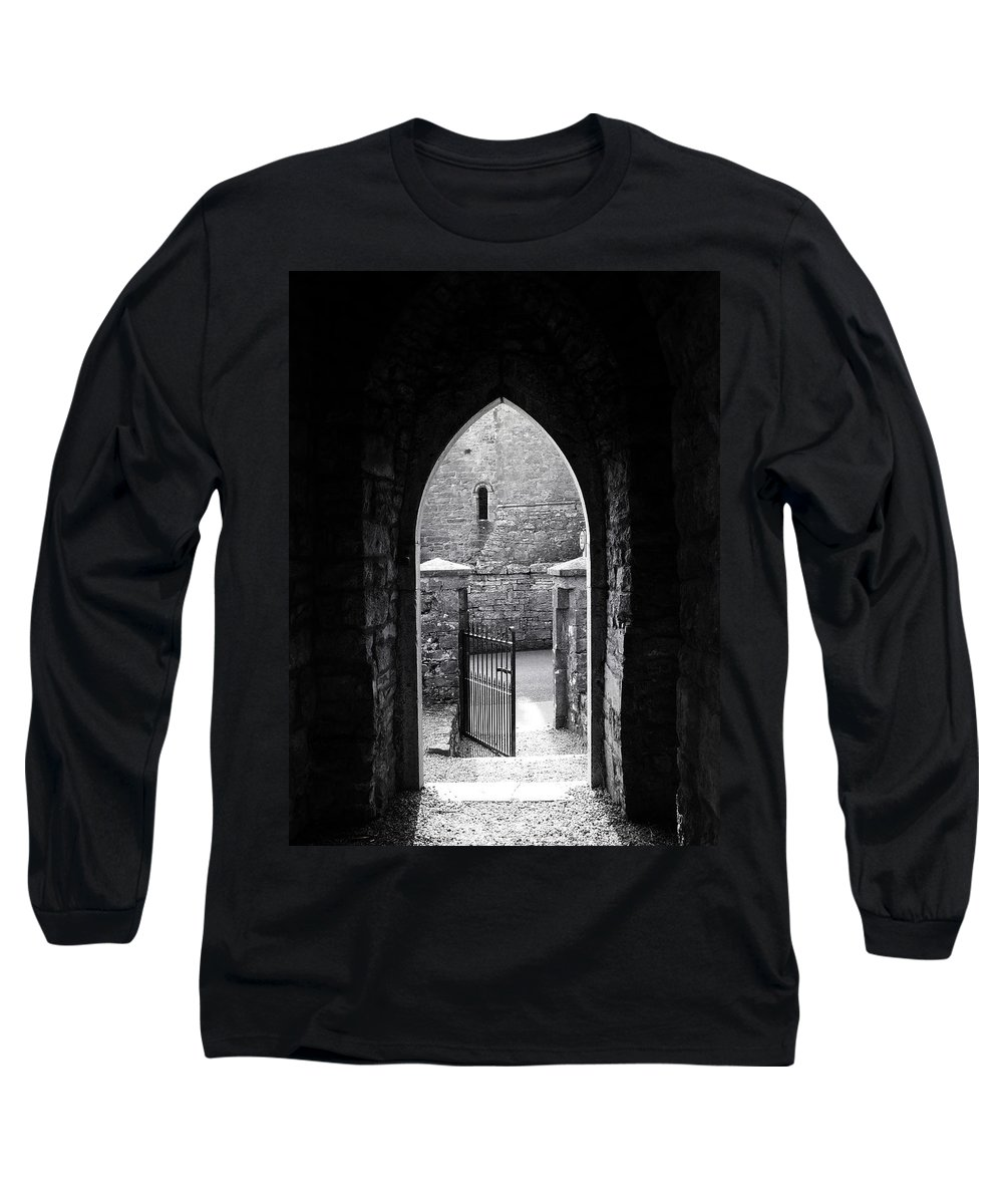 Irish Long Sleeve T-Shirt featuring the photograph Let There Be Light Cong Church And Abbey Cong Ireland by Teresa Mucha