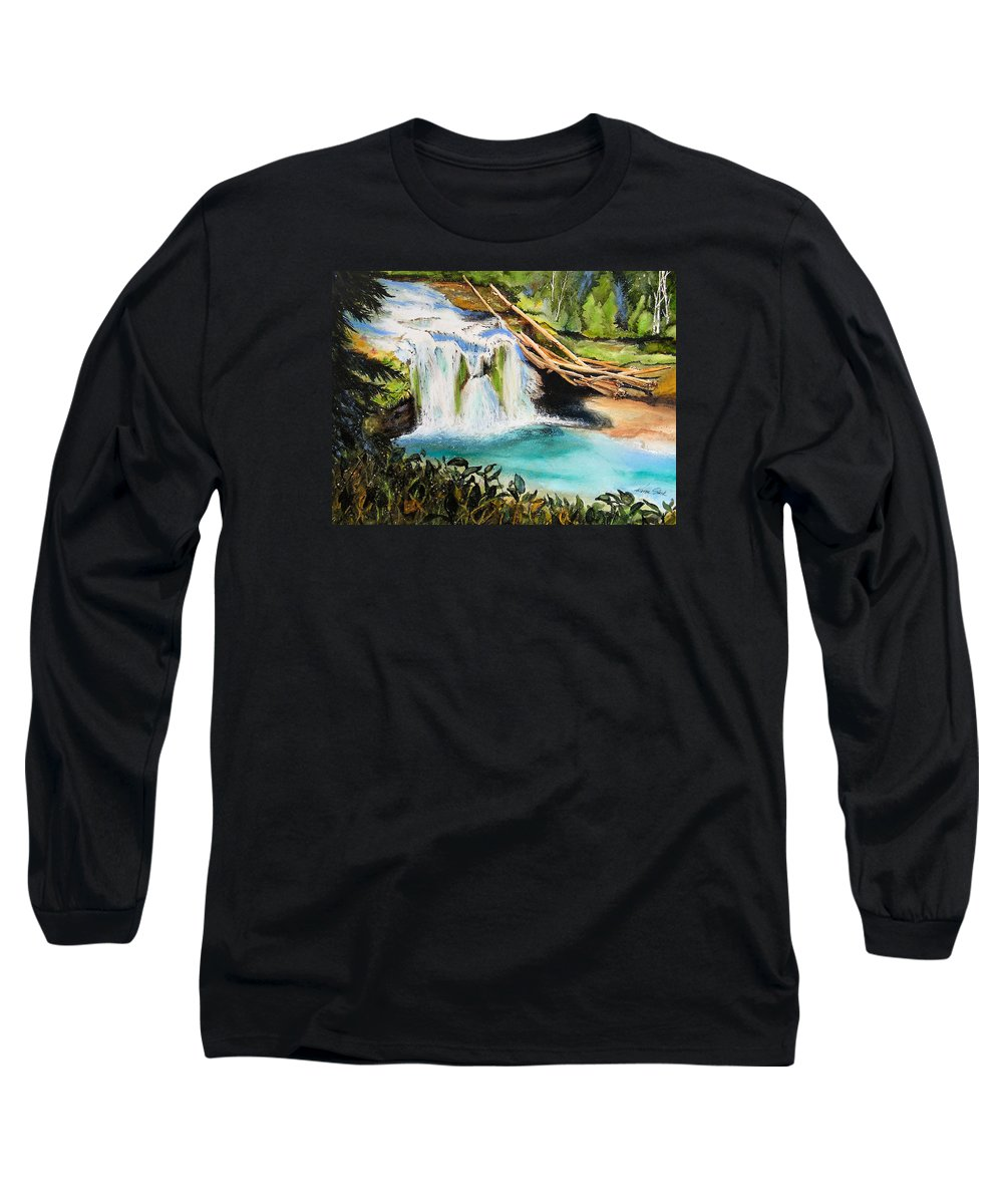 Water Long Sleeve T-Shirt featuring the painting Lewis River Falls by Karen Stark