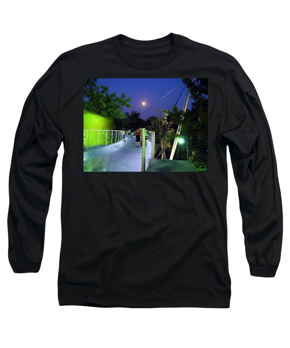 Liberty Bridge Long Sleeve T-Shirt featuring the photograph Liberty Bridge At Night Greenville South Carolina by Flavia Westerwelle
