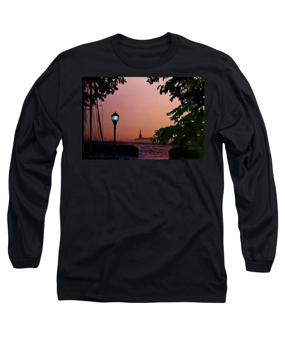 Seascape Long Sleeve T-Shirt featuring the digital art Liberty Fading Seascape by Steve Karol