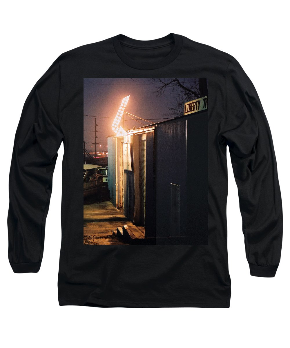 Night Scene Long Sleeve T-Shirt featuring the photograph Liberty by Steve Karol