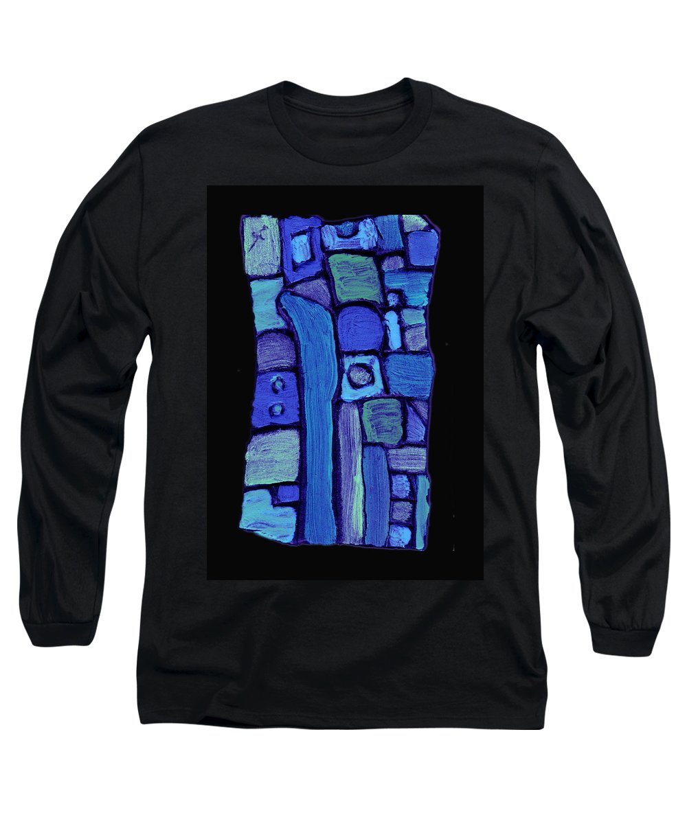Abstract Long Sleeve T-Shirt featuring the painting Life In The Pond by Wayne Potrafka