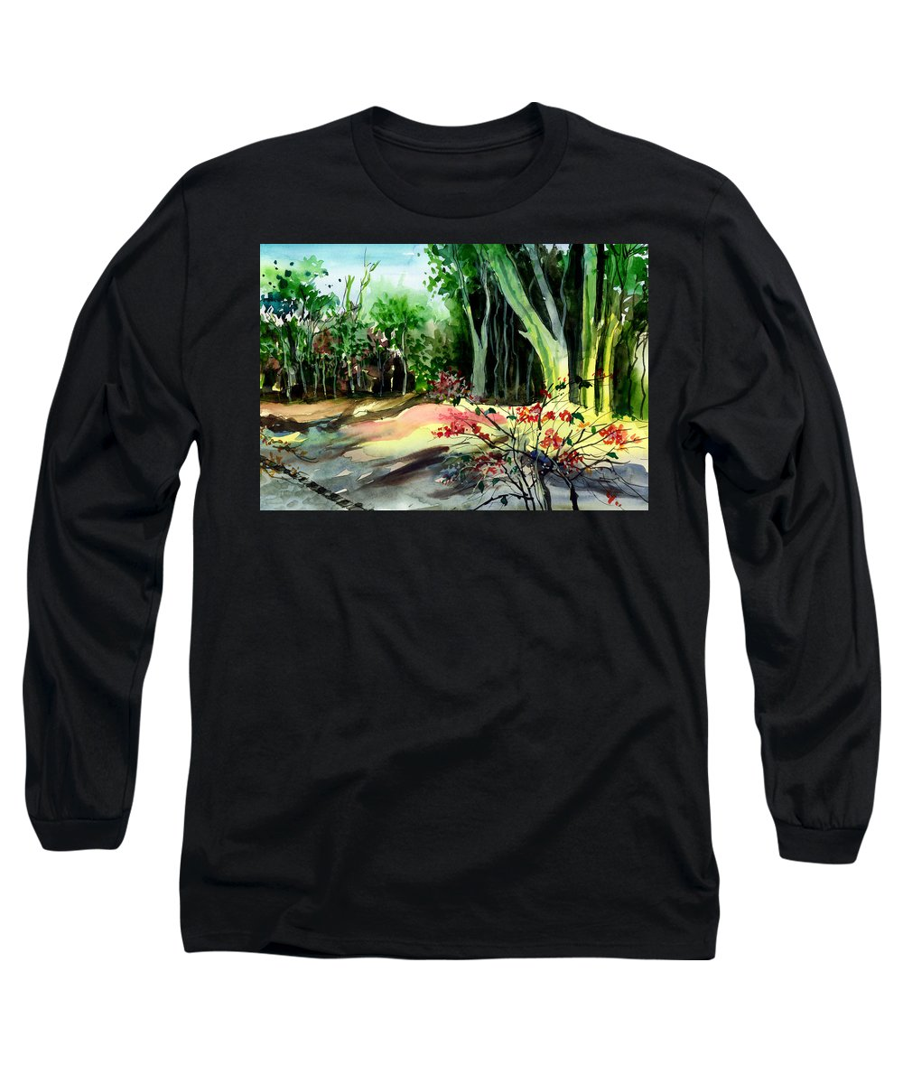 Watercolor Long Sleeve T-Shirt featuring the painting Light In The Woods by Anil Nene