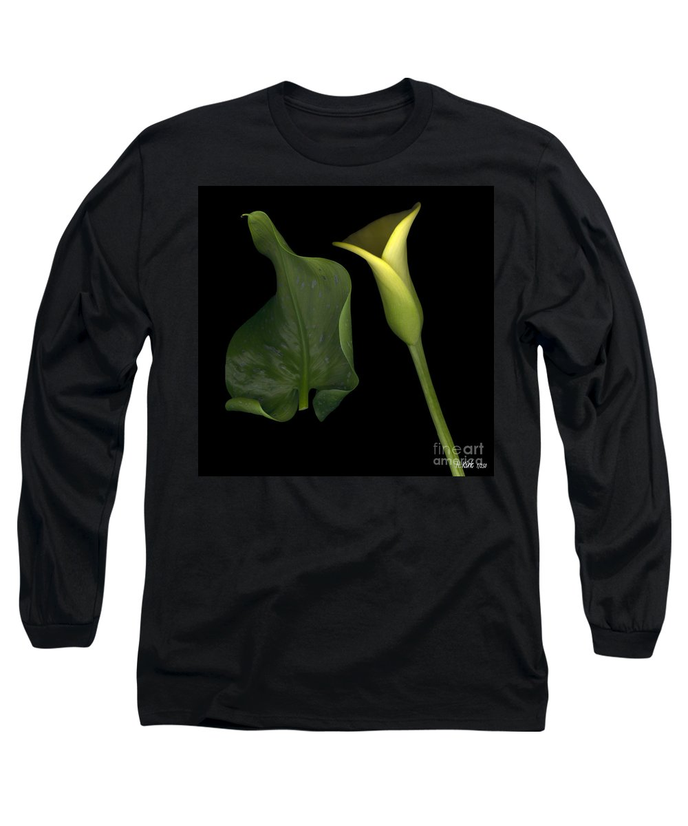 Yellow Long Sleeve T-Shirt featuring the photograph Lily And Leaf Number Two by Heather Kirk
