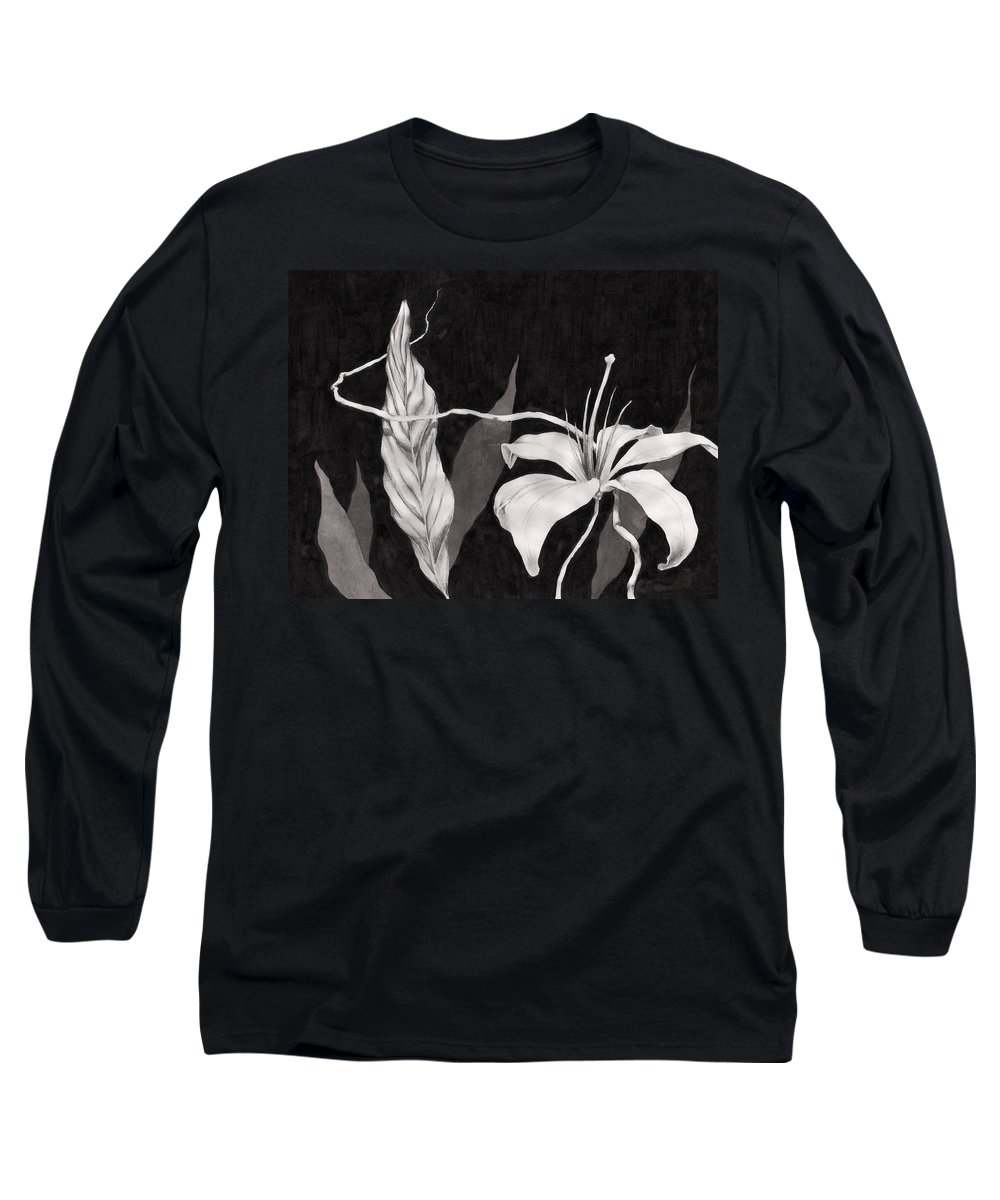 Ink Painting Long Sleeve T-Shirt featuring the drawing Lily In The Night by Jennifer McDuffie