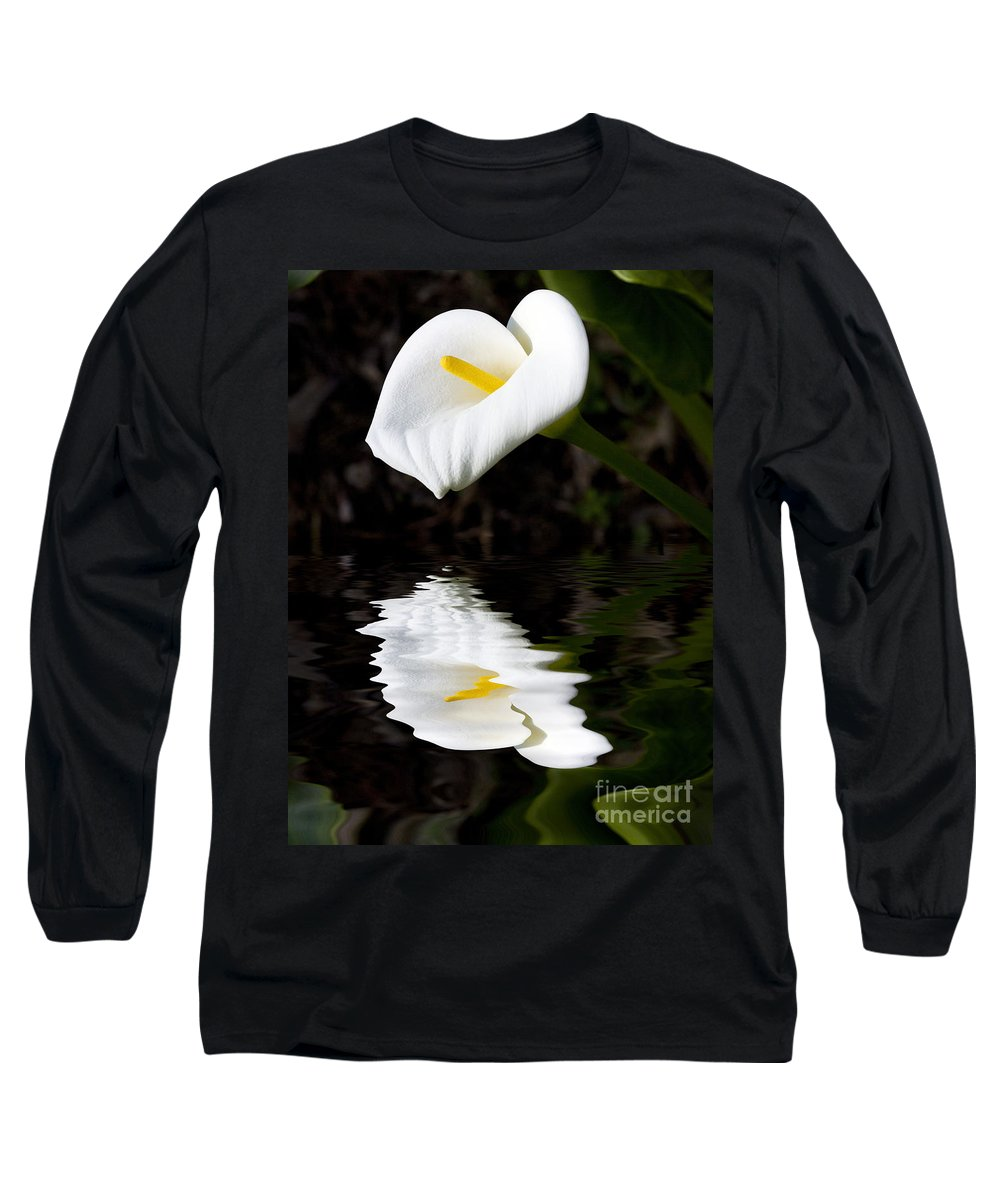 Lily Reflection Flora Flower Long Sleeve T-Shirt featuring the photograph Lily Reflection by Sheila Smart Fine Art Photography