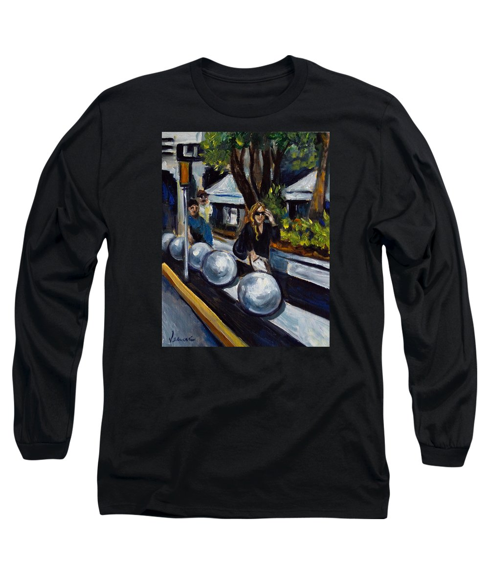 Shopping Long Sleeve T-Shirt featuring the painting Lincoln Road by Valerie Vescovi