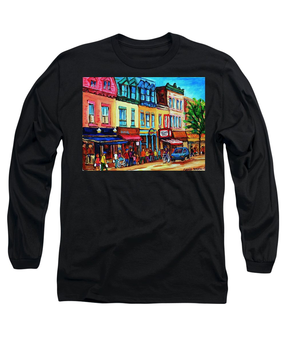 Cityscape Long Sleeve T-Shirt featuring the painting Lineup For Smoked Meat Sandwiches by Carole Spandau