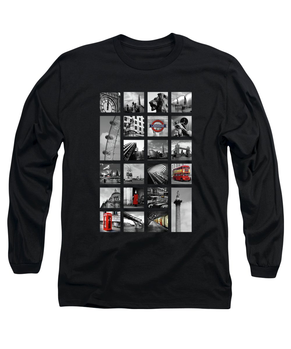 Tower Bridge Long Sleeve T-Shirt featuring the photograph London Squares by Mark Rogan