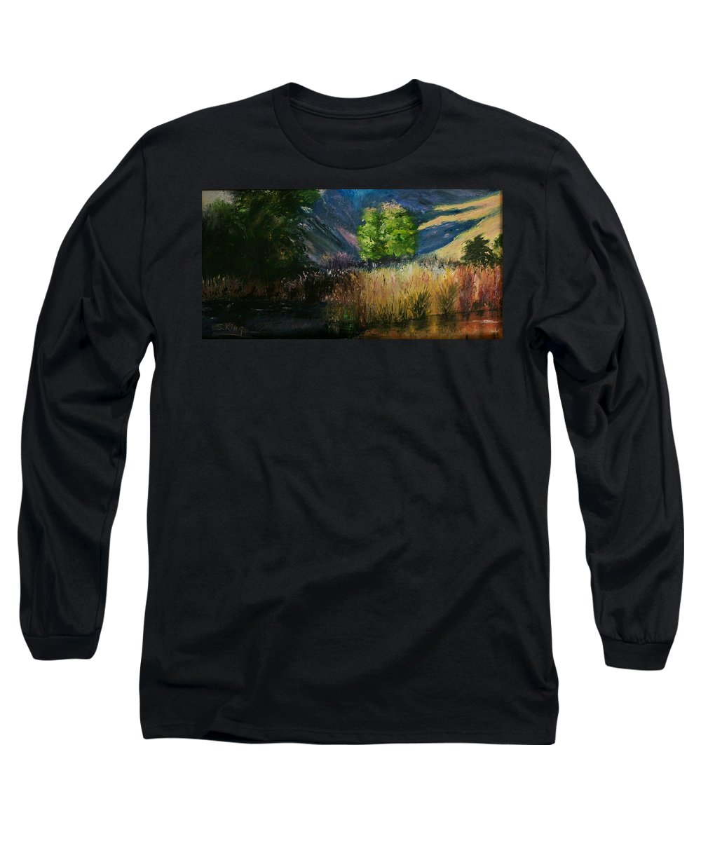 Landscape Long Sleeve T-Shirt featuring the painting Long Shadows by Stephen King