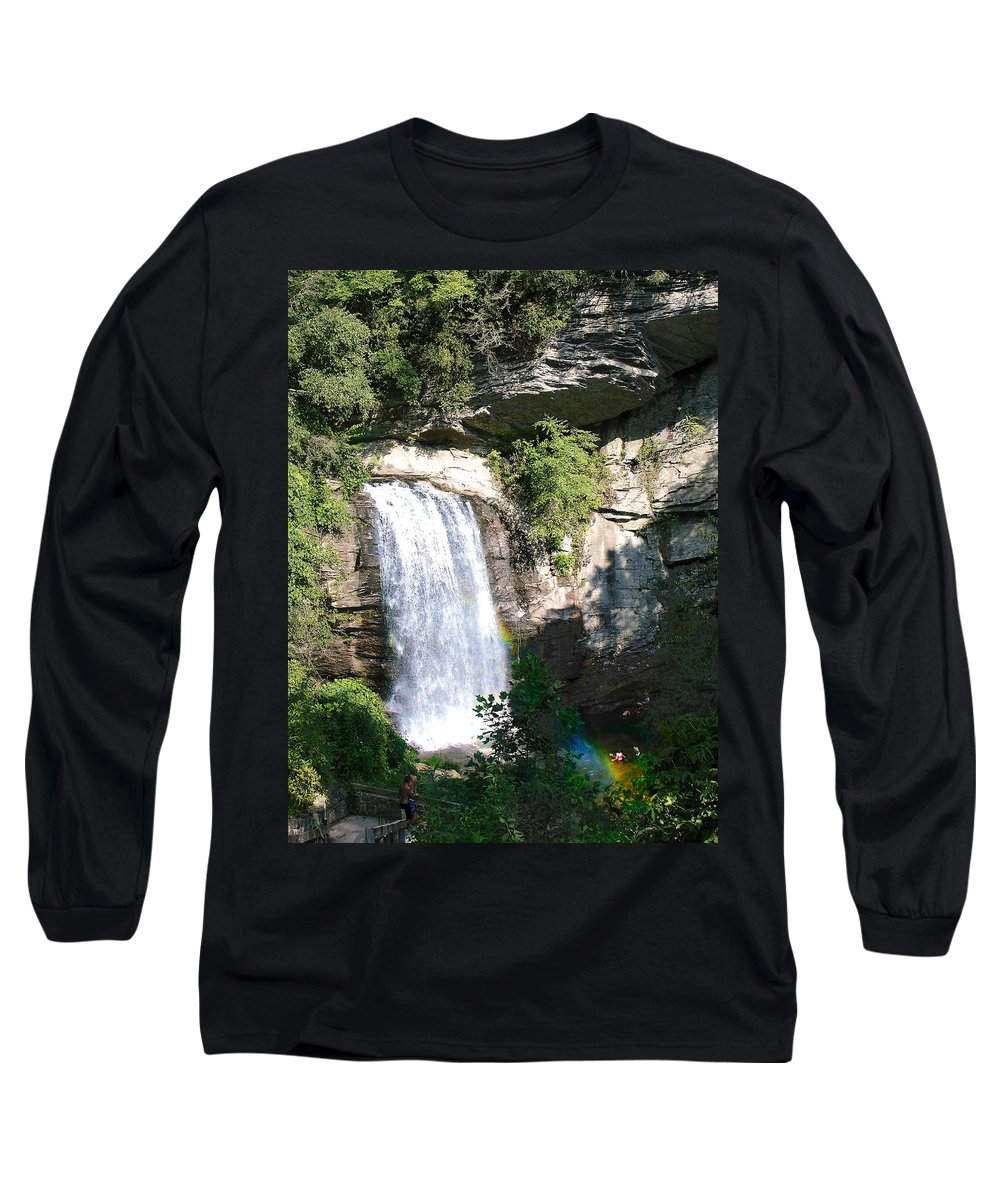 Landscape Long Sleeve T-Shirt featuring the photograph Looking Glass Falls Nc by Steve Karol