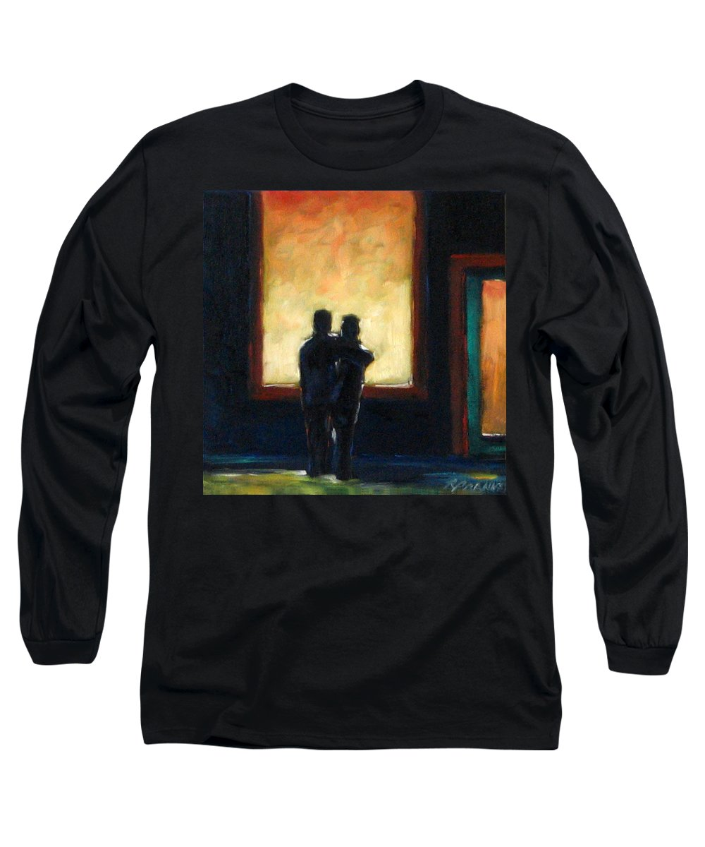 Town Long Sleeve T-Shirt featuring the painting Looking In Looking Out Mini by Richard T Pranke