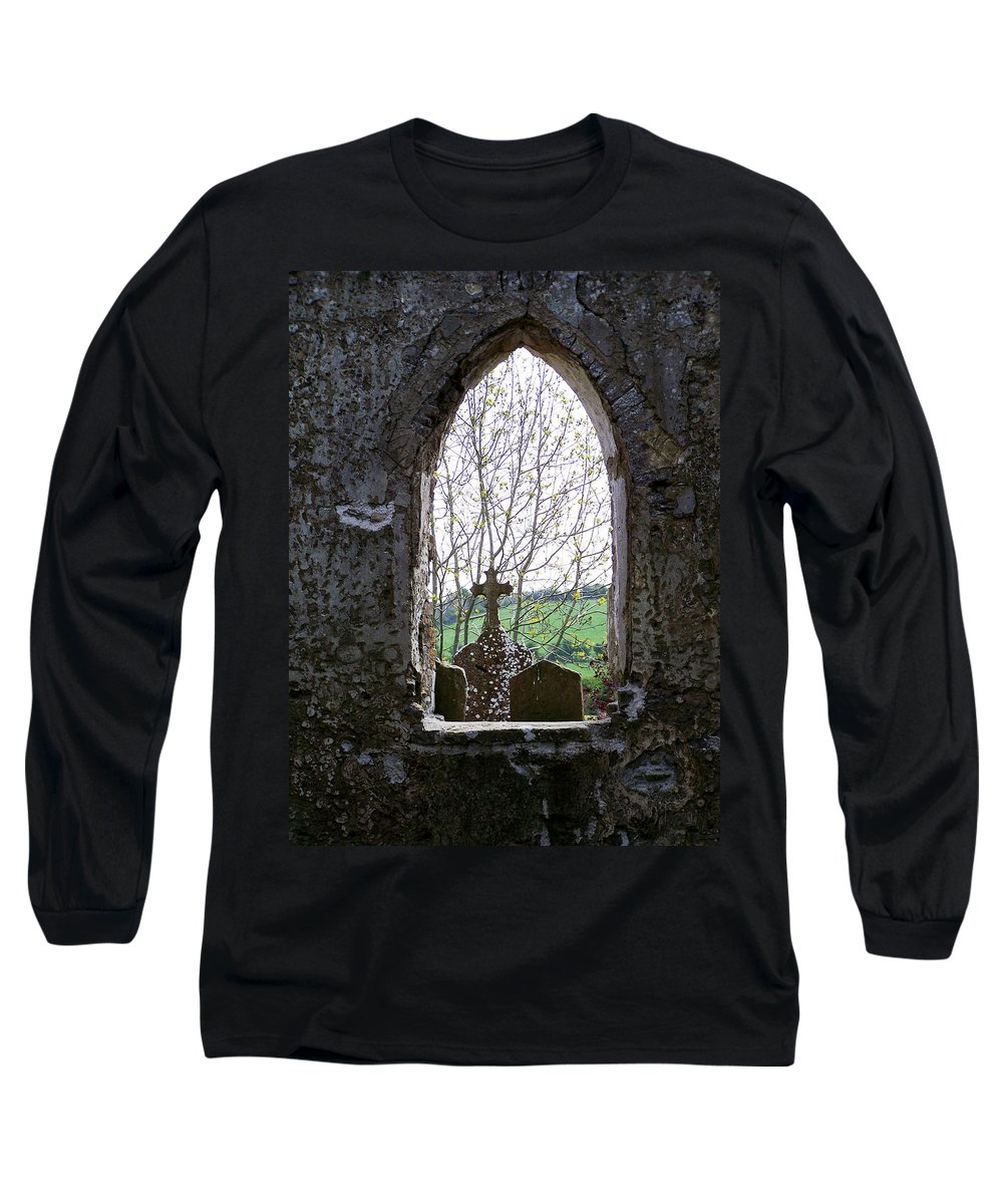 Ireland Long Sleeve T-Shirt featuring the photograph Looking Out Fuerty Church Roscommon Ireland by Teresa Mucha
