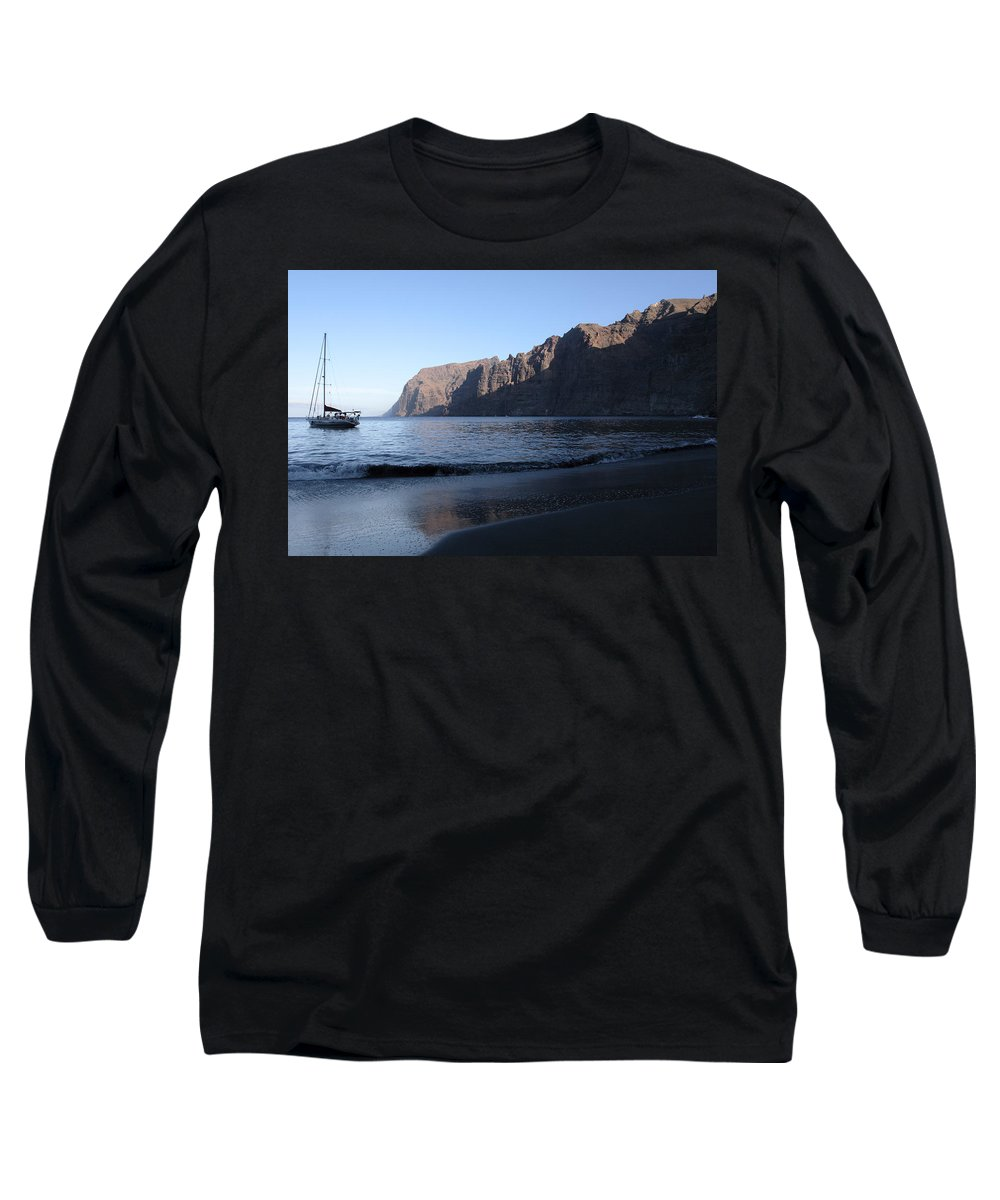 Seascape Long Sleeve T-Shirt featuring the photograph Los Gigantes Yacht by Phil Crean