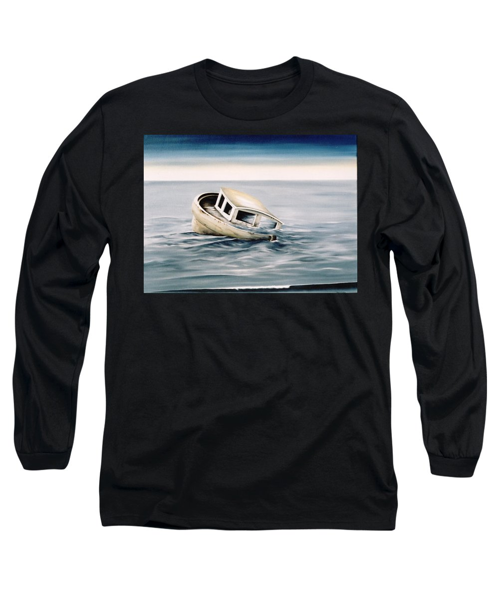 Seascape Long Sleeve T-Shirt featuring the painting Lost At Sea Contd by Mark Cawood