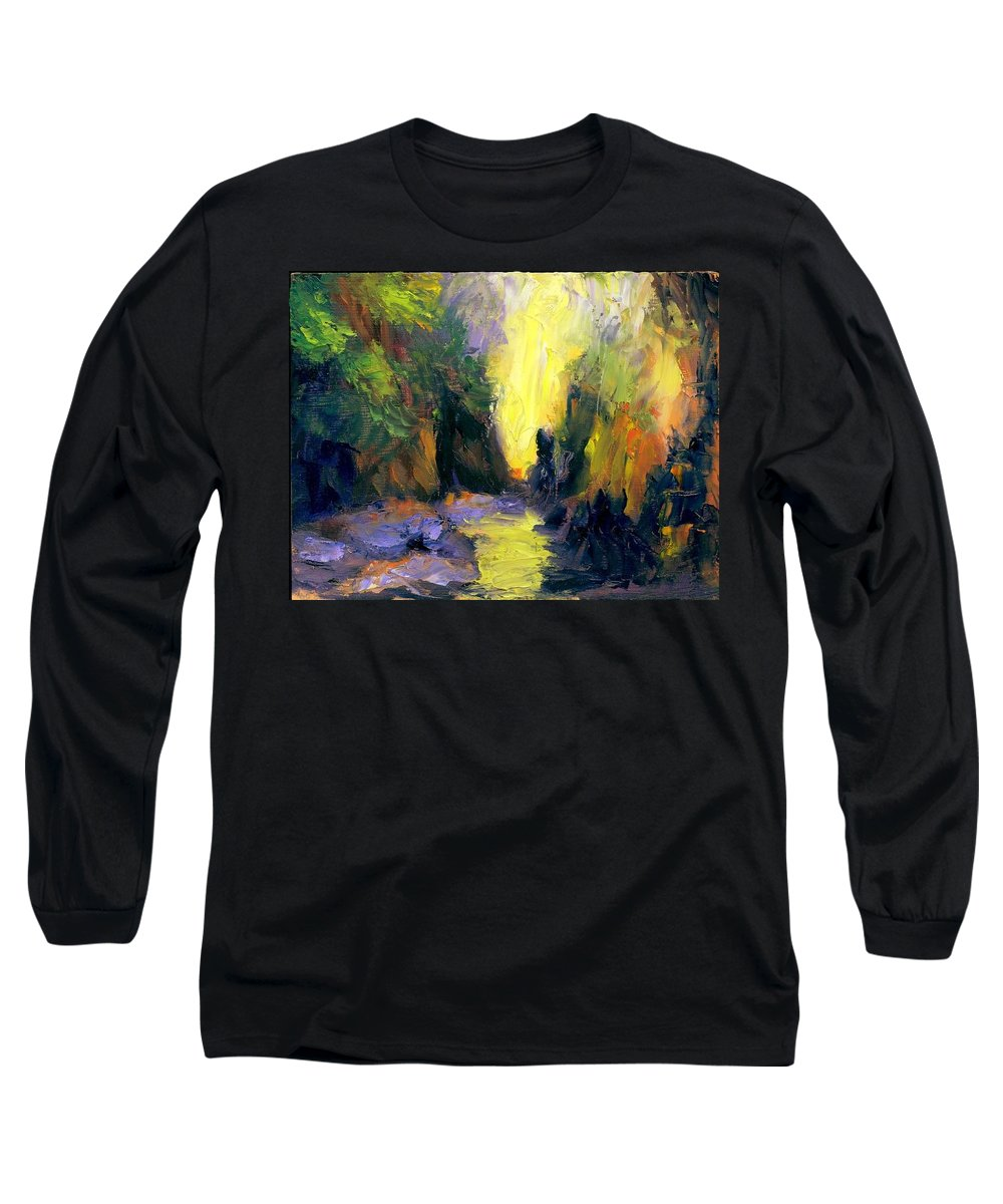 Landscape Long Sleeve T-Shirt featuring the painting Lost Creek by Gail Kirtz