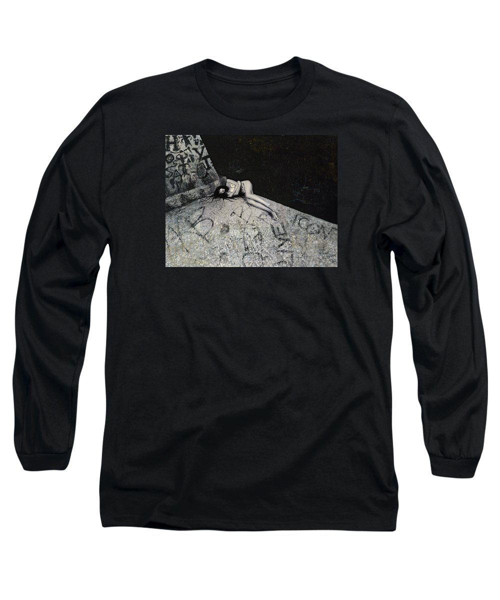 City Long Sleeve T-Shirt featuring the painting Lost In New York by Yelena Tylkina