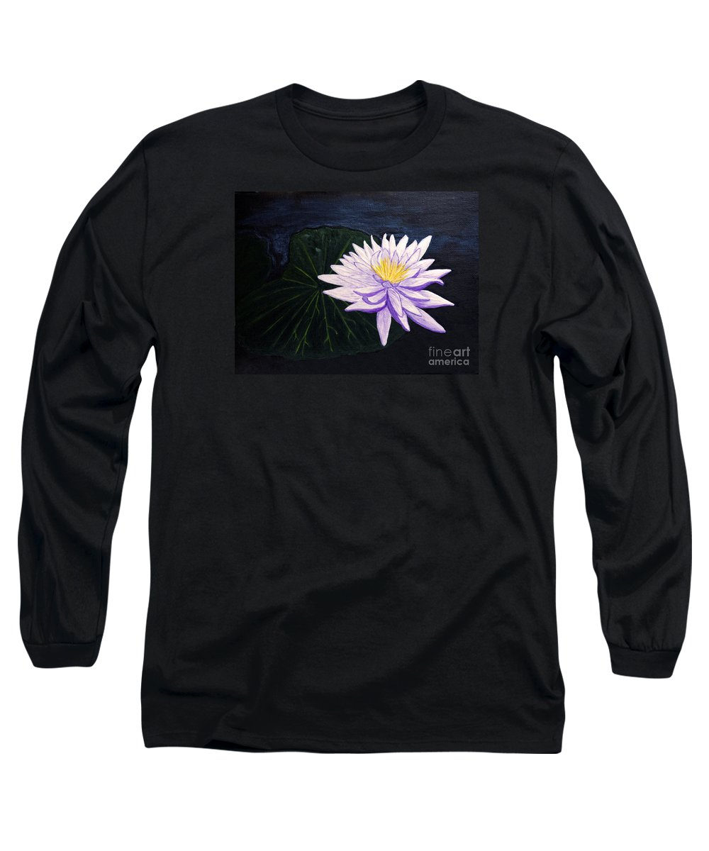Original Painting Long Sleeve T-Shirt featuring the painting Lotus Blossom At Night by Patricia Griffin Brett