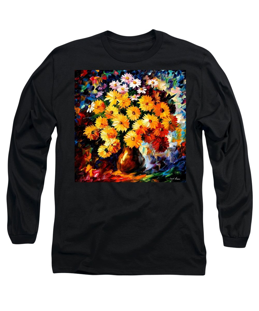 Flowers Long Sleeve T-Shirt featuring the painting Love Irradiation by Leonid Afremov