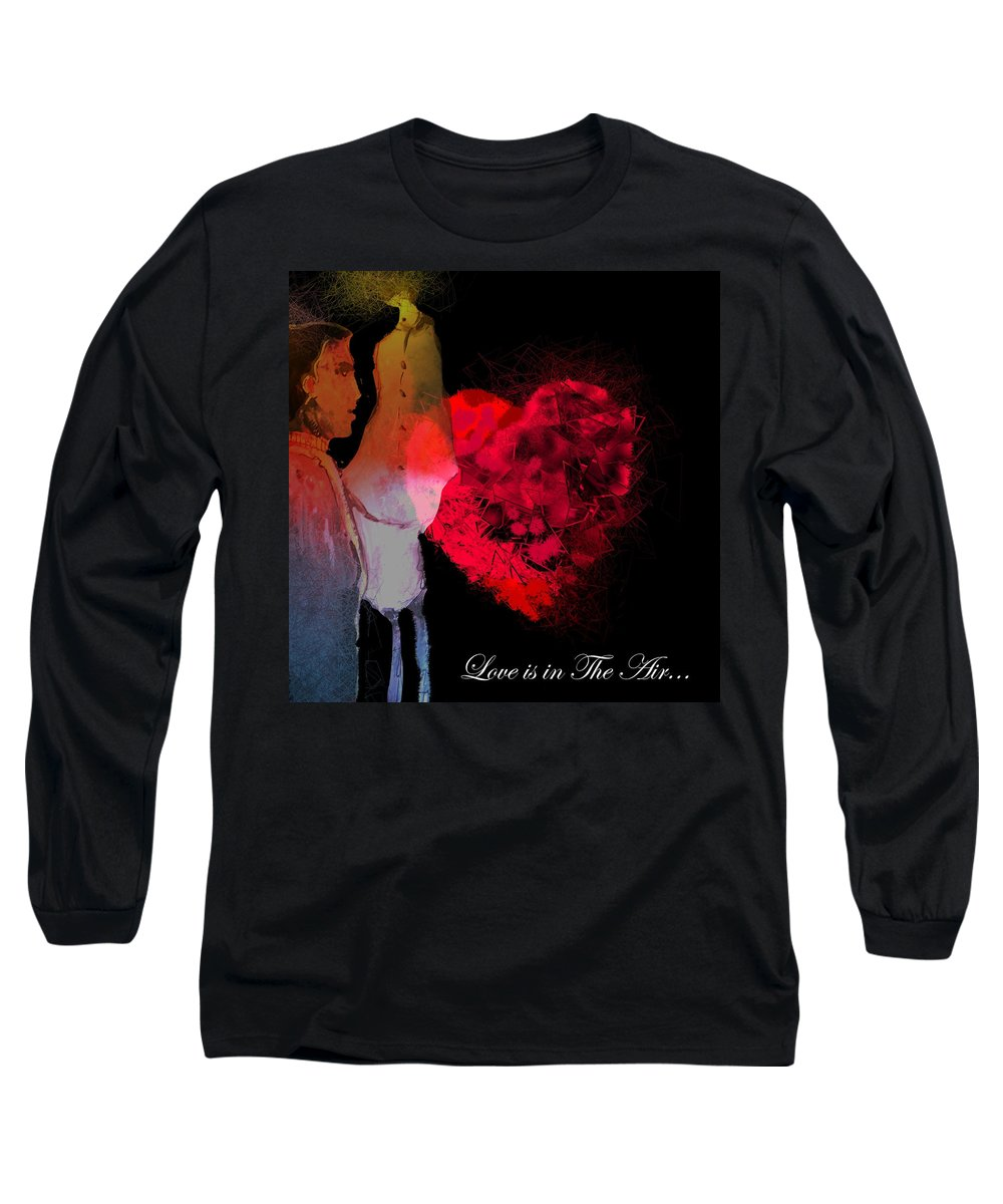 Love Long Sleeve T-Shirt featuring the painting Love Is In The Air by Miki De Goodaboom