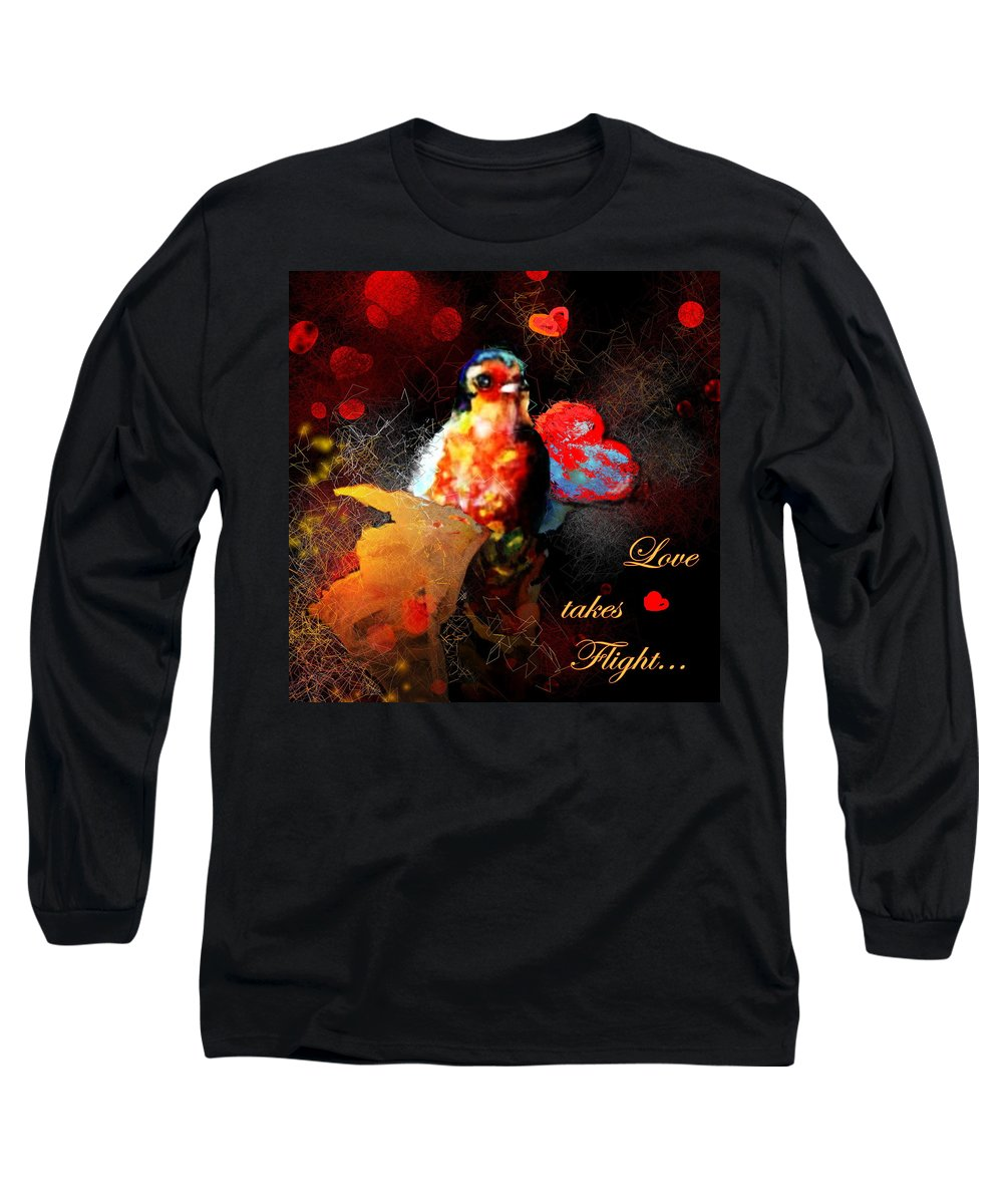Love Long Sleeve T-Shirt featuring the painting Love Takes Flight by Miki De Goodaboom