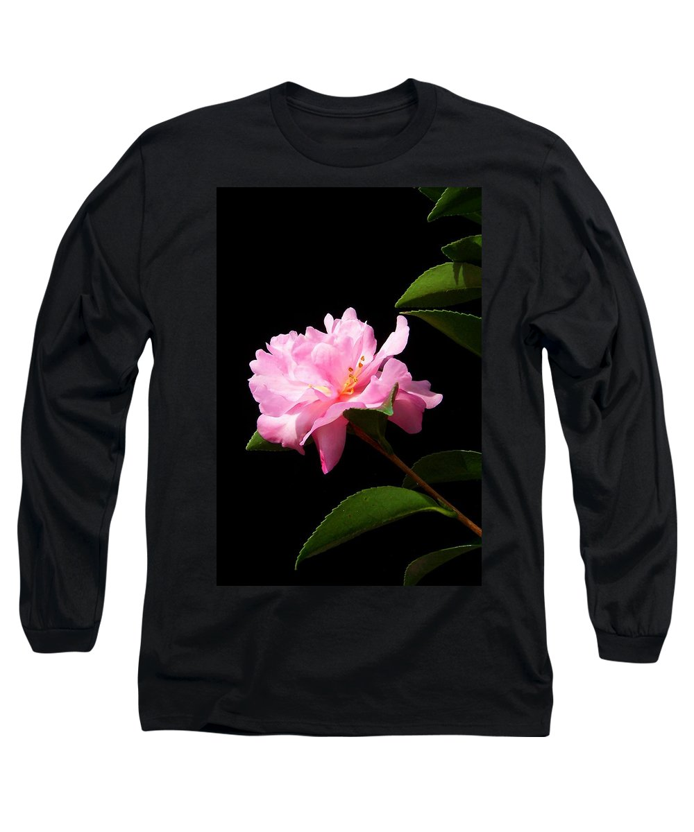 Flower Long Sleeve T-Shirt featuring the photograph Lovely Pink Camelia by Laurie Paci