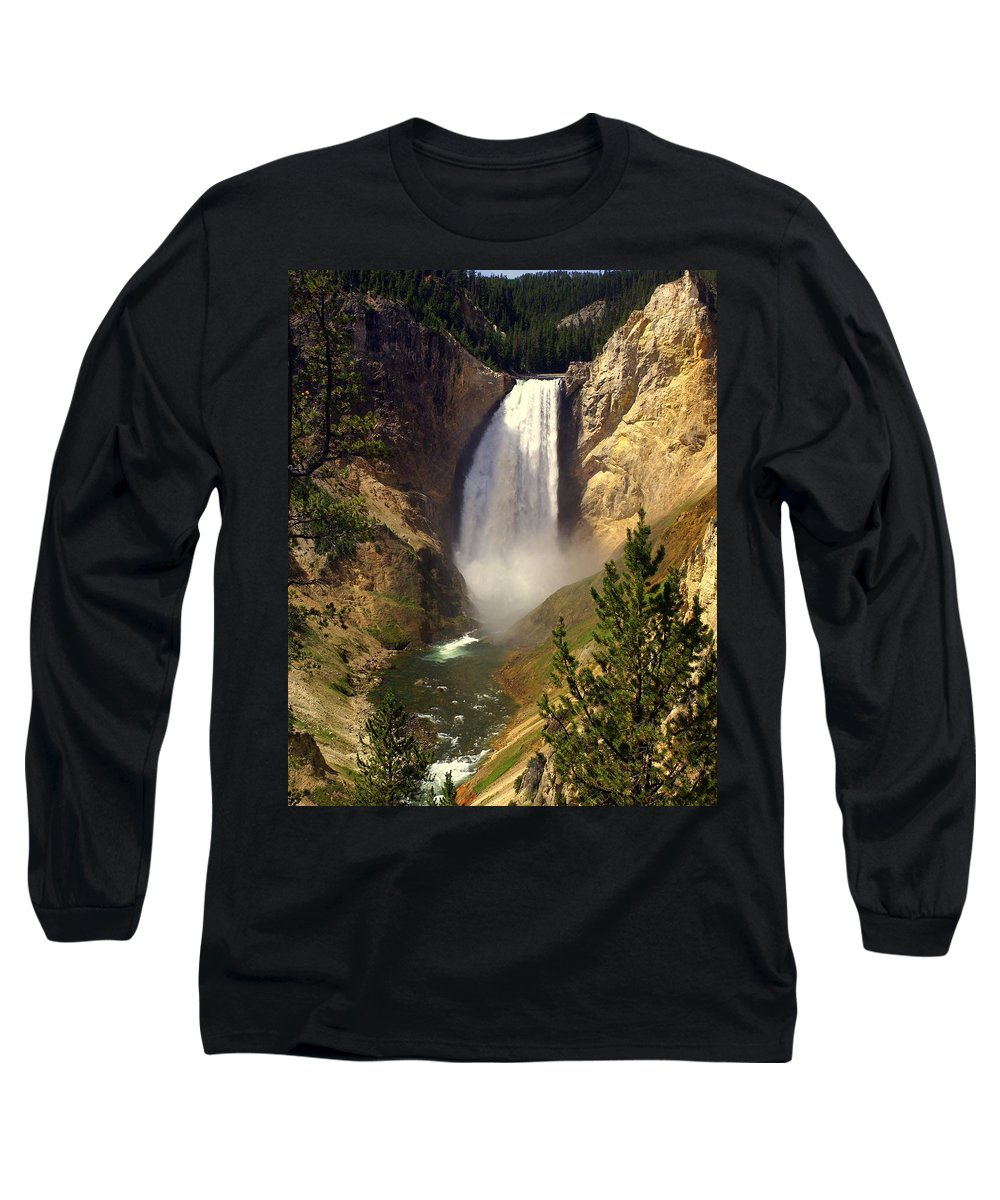 Waterfall Long Sleeve T-Shirt featuring the photograph Lower Falls by Marty Koch