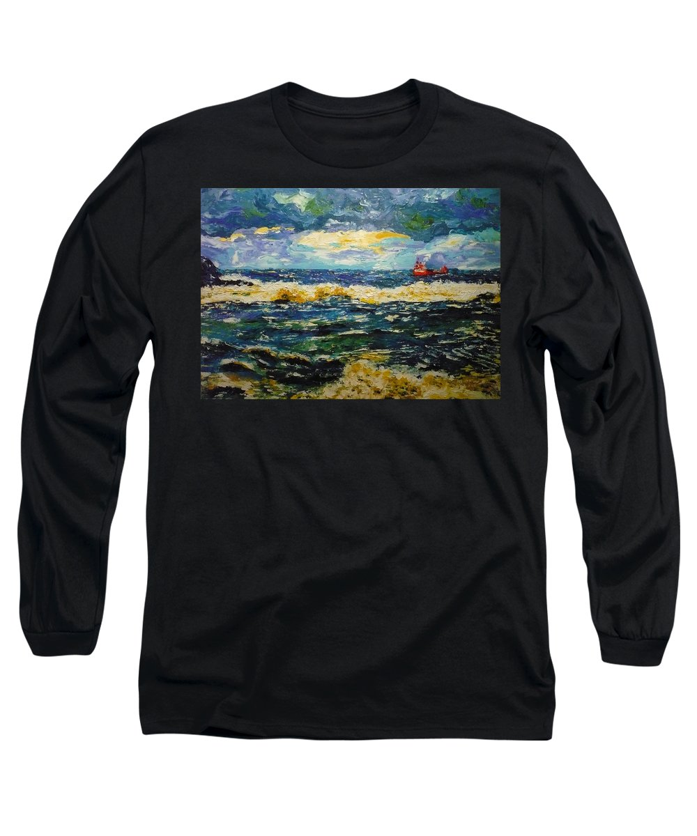 Sea Long Sleeve T-Shirt featuring the painting Mad Sea by Ericka Herazo