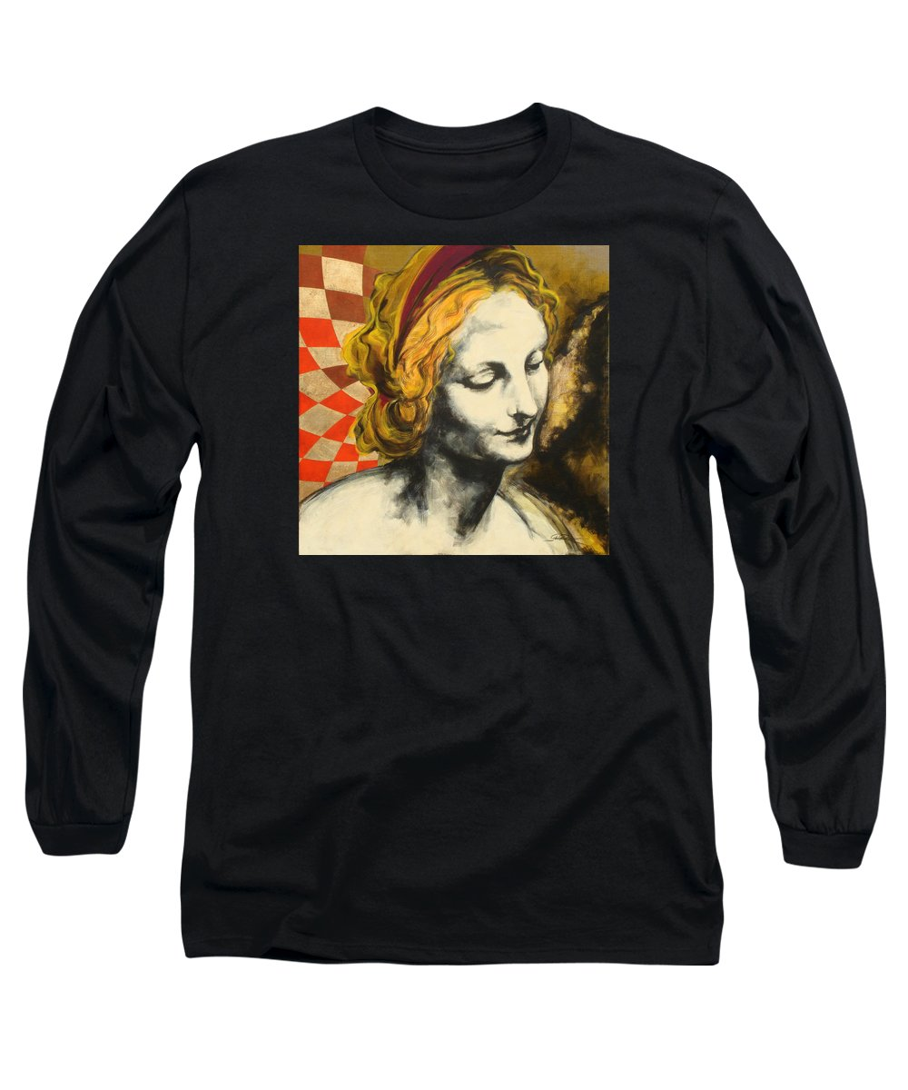 Pop Long Sleeve T-Shirt featuring the painting Madona Face by Jean Pierre Rousselet