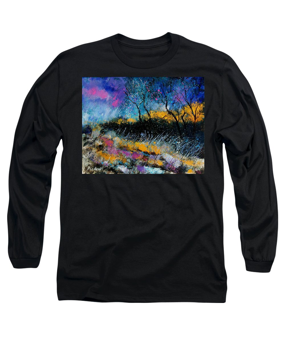 Landscape Long Sleeve T-Shirt featuring the painting Magic Morning Light by Pol Ledent