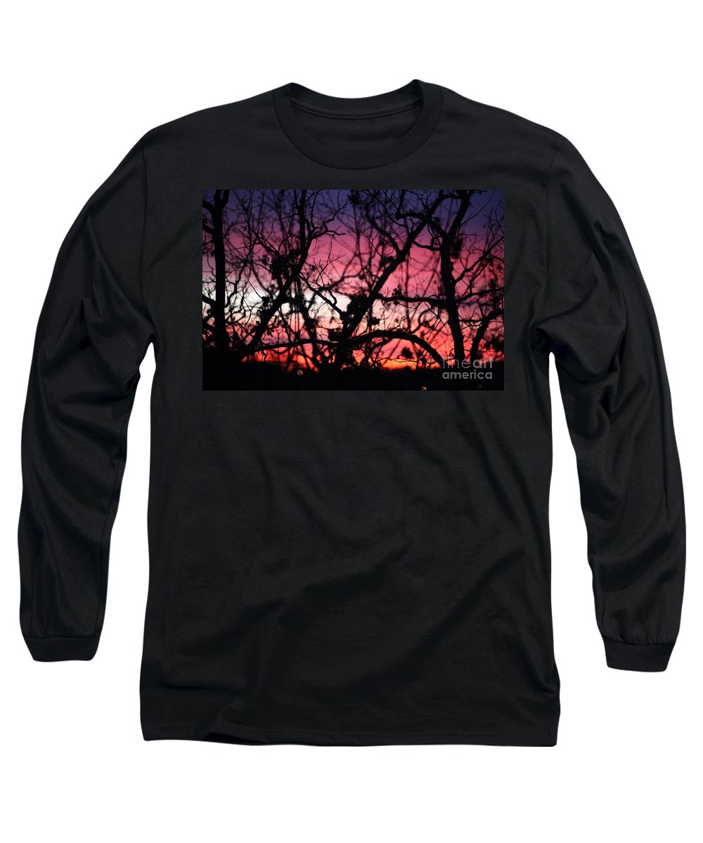 Sunset Long Sleeve T-Shirt featuring the photograph Magnificent Sunset And Trees by Nadine Rippelmeyer
